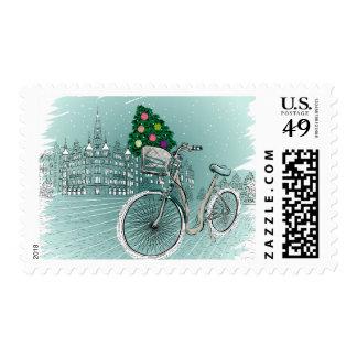 Holidays Postcard With Holidays Tree Postage Stamp