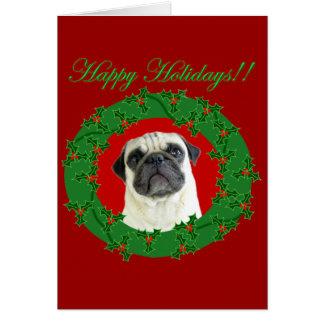 Holidays pug greeting card