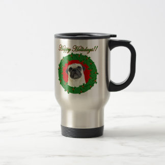 Holidays pug travel mug
