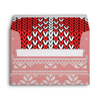 Holidays Red Knit Ugly Sweater Jumping Deer Envelope