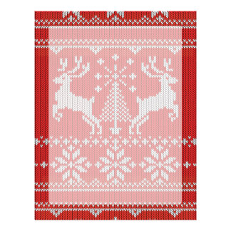 Holidays Red Knitting Ugly Sweater Style Deer Letterhead