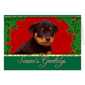 Holidays Rottweiler puppy Card