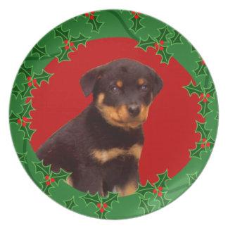 Holidays Rottweiler puppy Dinner Plate
