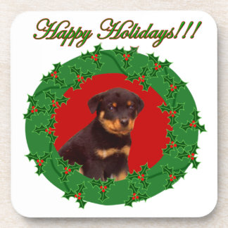 Holidays Rottweiler puppy Drink Coaster