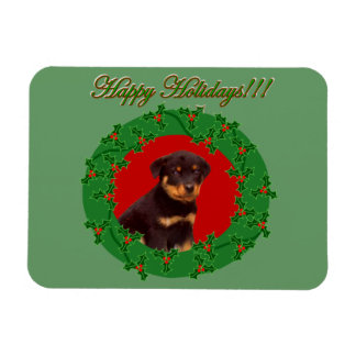 Holidays Rottweiler puppy Rectangular Photo Magnet