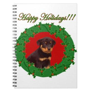 Holidays Rottweiler puppy Spiral Notebook
