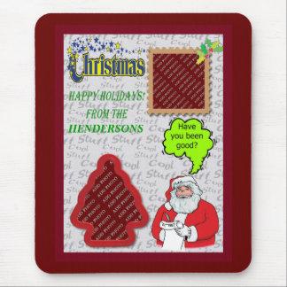 Holidays Santa Greeting Tree and Square Add Photos Mouse Pad
