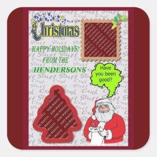 Holidays Santa Greeting Tree and Square Add Photos Square Sticker