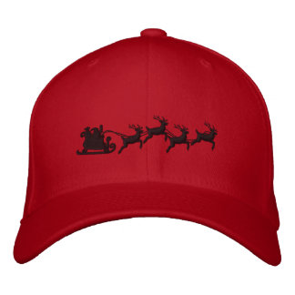 Holidays Santa Sleigh Ride Scene Embroidery Embroidered Baseball Cap