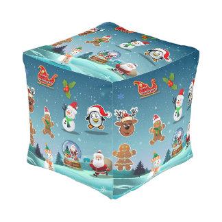 Holidays Scene Cube Pouf
