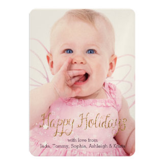 Holidays Stars Gold Glitter Personalized Photo Card
