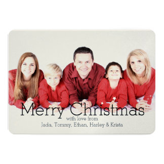 Holidays Stars Silver Glitter Personalized Photo Card
