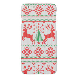 Holidays White Knit Christmas Ugly Sweater Ho Deer Glossy iPhone 6 Case