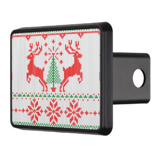 Holidays White Knit Style Sweater Deer Trailer Hitch Cover