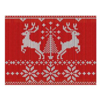 Holidays White Knit Ugly Sweater Ho Deer Postcard