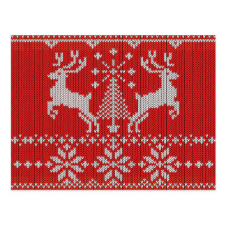Holidays White Knit Ugly Sweater Style All Over Postcard