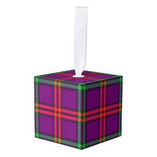Holidaytime Clan Montgomery Tartan Plaid Cube Ornament