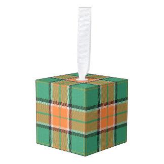 Holidaytime Clan Pollock Tartan Plaid Cube Ornament