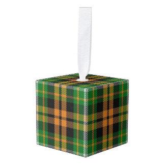 Holidaytime Clan Ramsay Orange Green Tartan Plaid Cube Ornament