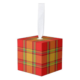 Holidaytime Clan Scrymgeour Tartan Plaid Cube Ornament