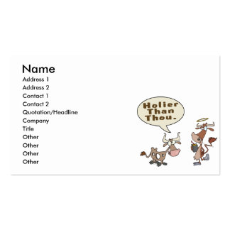 holier than thou holey vs holy cow pun humor Double-Sided standard business cards (Pack of 100)