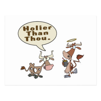 holier than thou holey vs holy cow pun humor postcard