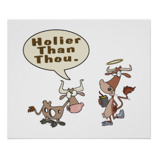 holier than thou holey vs holy cow pun humor posters