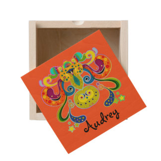 holiES - abstract happy holy Cow + your ideas Wooden Keepsake Box