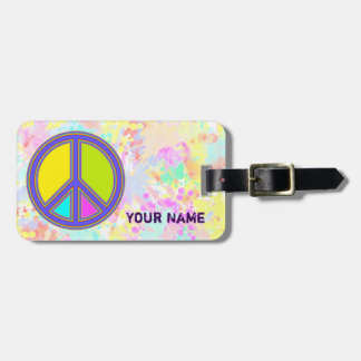 holiES - colorful PEACE sign & splashes backgr. Luggage Tag