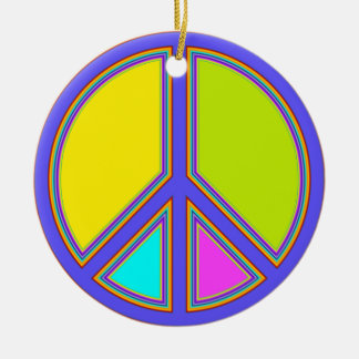 holiES - colorful PEACE sign + your ideas Ceramic Ornament