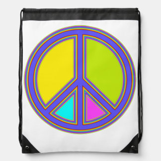holiES - colorful PEACE sign + your ideas Drawstring Backpack