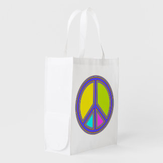 holiES - colorful PEACE sign + your ideas Grocery Bag