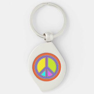 holiES - colorful PEACE sign + your ideas Keychain