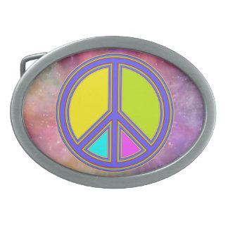 holiES - colorful PEACE sign + your ideas Oval Belt Buckle