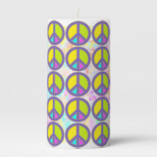 holiES - colorful PEACE sign + your ideas Pillar Candle