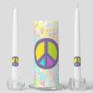 holiES - colorful PEACE sign + your ideas Unity Candle Set