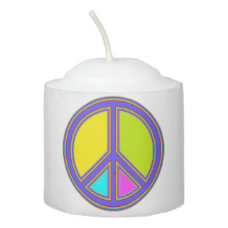holiES - colorful PEACE sign + your ideas Votive Candle