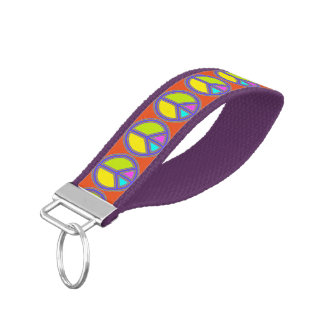 holiES - colorful PEACE sign + your ideas Wrist Keychain