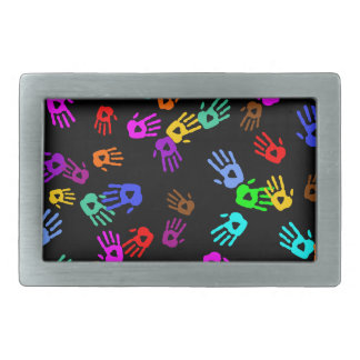 holiES - hands colored pattern 1 + your backgr. Belt Buckle
