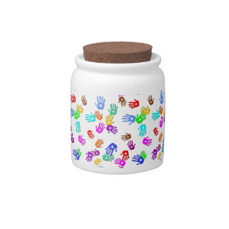 holiES - hands colored pattern 1 + your backgr. Candy Dish