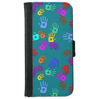holiES - hands colored pattern 1 + your backgr. iPhone 6/6s Wallet Case