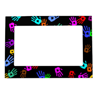 holiES - hands colored pattern 1 + your backgr. Magnetic Frame