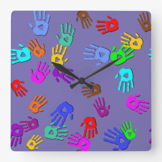 holiES - hands colored pattern 1 + your backgr. Square Wall Clock