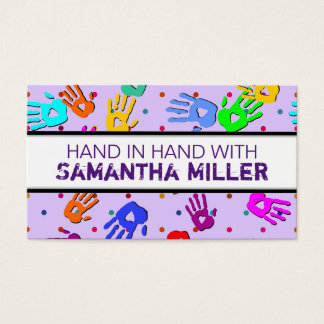 holiES - hands dots colored pattern 1 Business Card