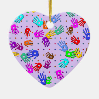 holiES - hands dots colored pattern 1 Ceramic Ornament