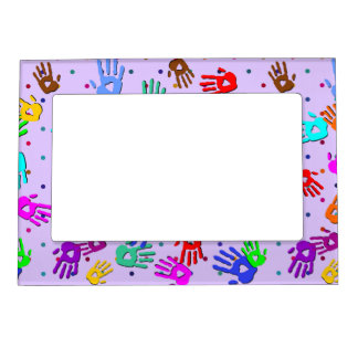 holiES - hands dots colored pattern 1 Magnetic Frame