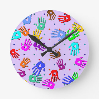 holiES - hands dots colored pattern 1 Round Clock