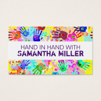 holiES - hands splashes colored grunge pattern 2 Business Card