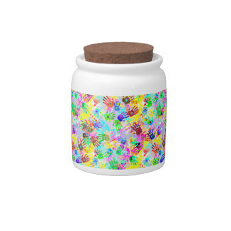 holiES - hands splashes colored grunge pattern 2 Candy Dish