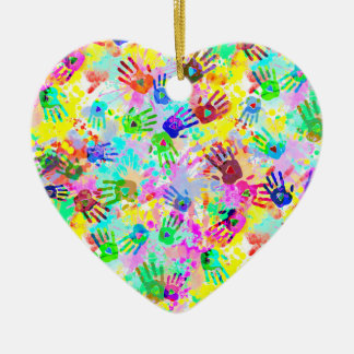 holiES - hands splashes colored grunge pattern 2 Ceramic Ornament